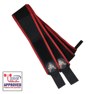 Picture of Metal Wrist Wraps Black N Red IPF Approved