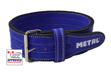 Picture of Metal Single Prong Powerlifting Belt Stiff Blue - IPF Approved
