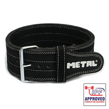 Picture of Metal Single Prong Powerlifting Belt Supple Black - IPF Approved